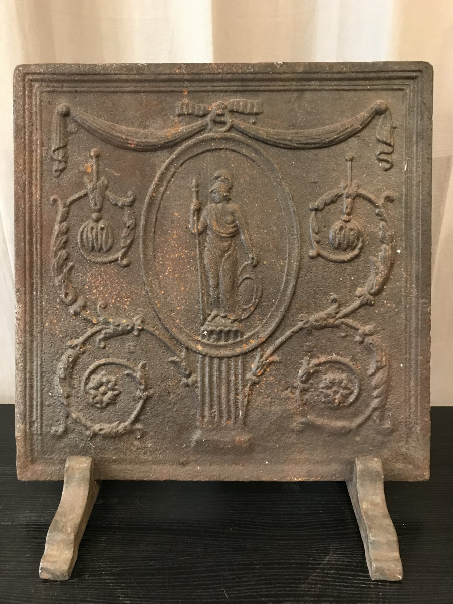 Antique Cast Iron Fireplace Plate From Late 18th Century