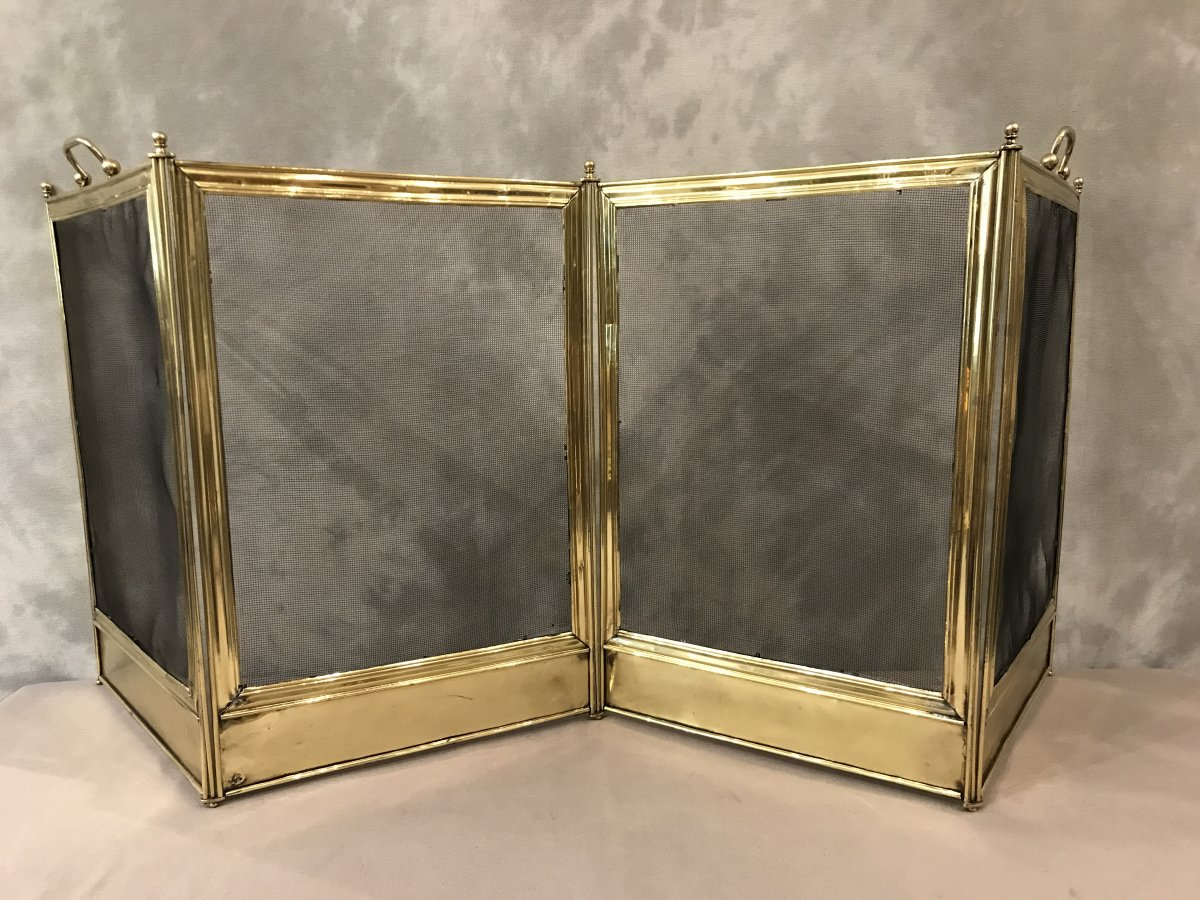 Antique Charles X 19th Century Brass Fire Screen