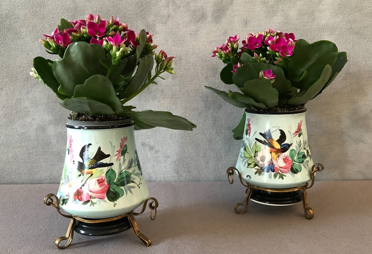 Paire De Petits Caches-Pots En Porcelaine De Vieux Paris D'époque 19ème