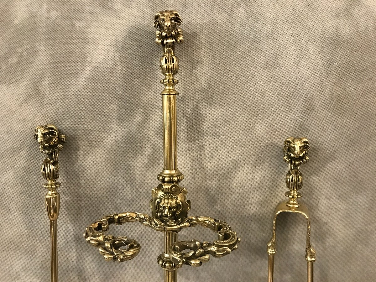 Lovely Fireplace Servant Decorated With Heads Of Rams In Bronze From The 19th Century-photo-4