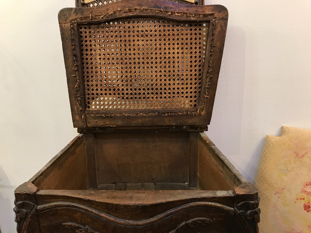 Chaise De Commodité En Bois Naturel D'époque 18ème Louis XV -photo-3