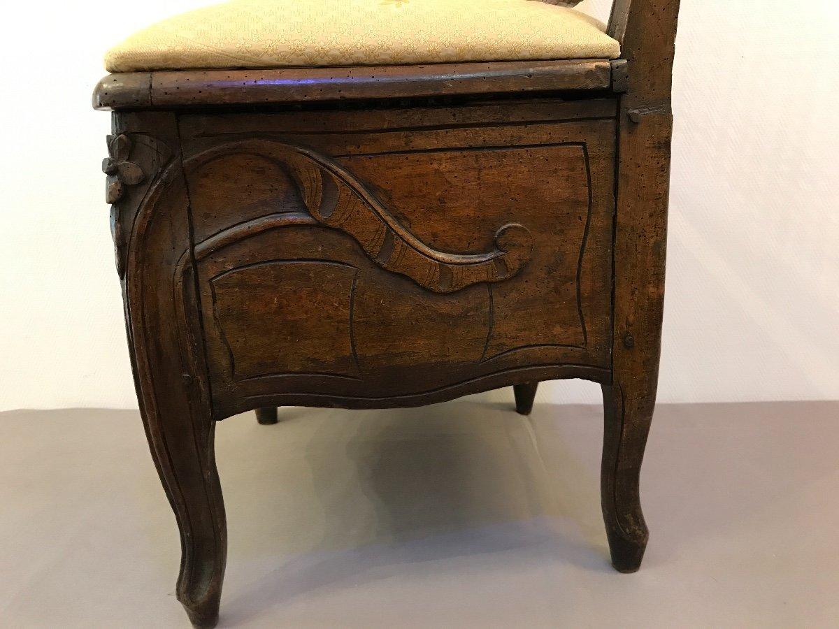 Chaise De Commodité En Bois Naturel D'époque 18ème Louis XV -photo-4