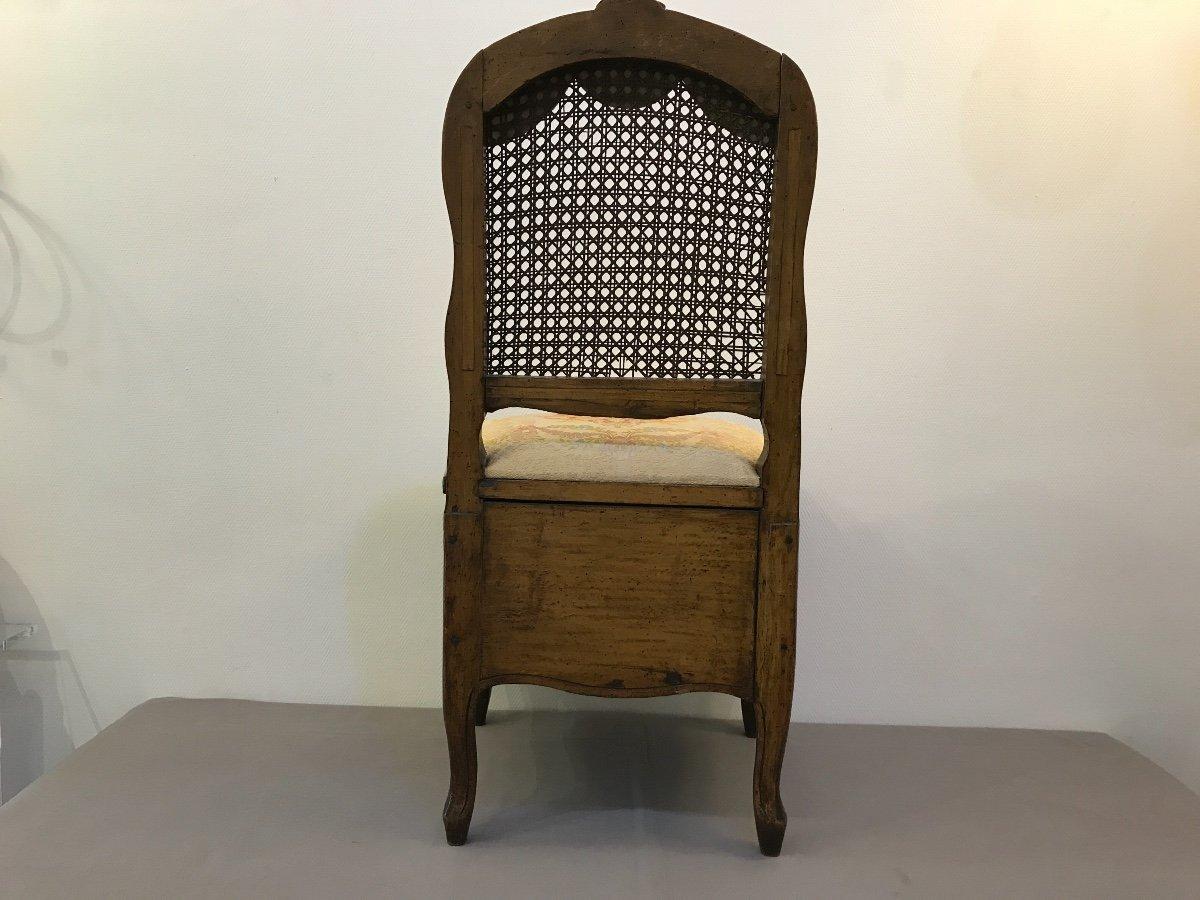 Chaise De Commodité En Bois Naturel D'époque 18ème Louis XV -photo-5