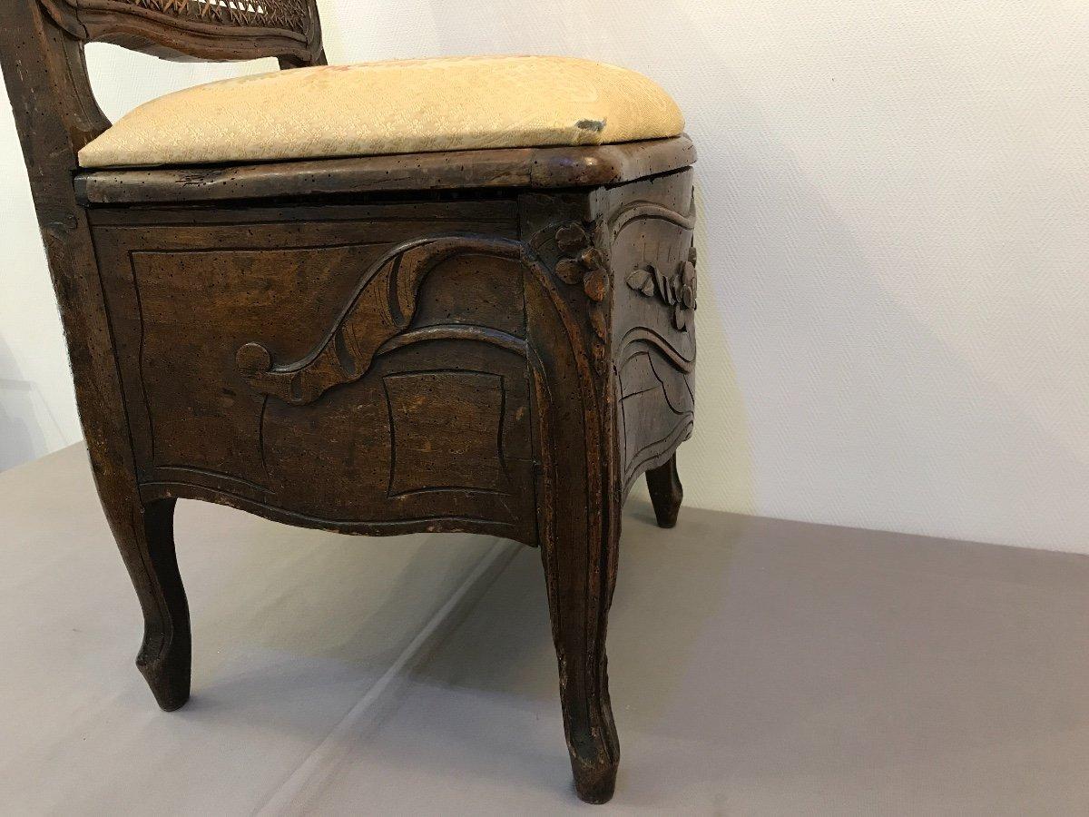Chaise De Commodité En Bois Naturel D'époque 18ème Louis XV -photo-6