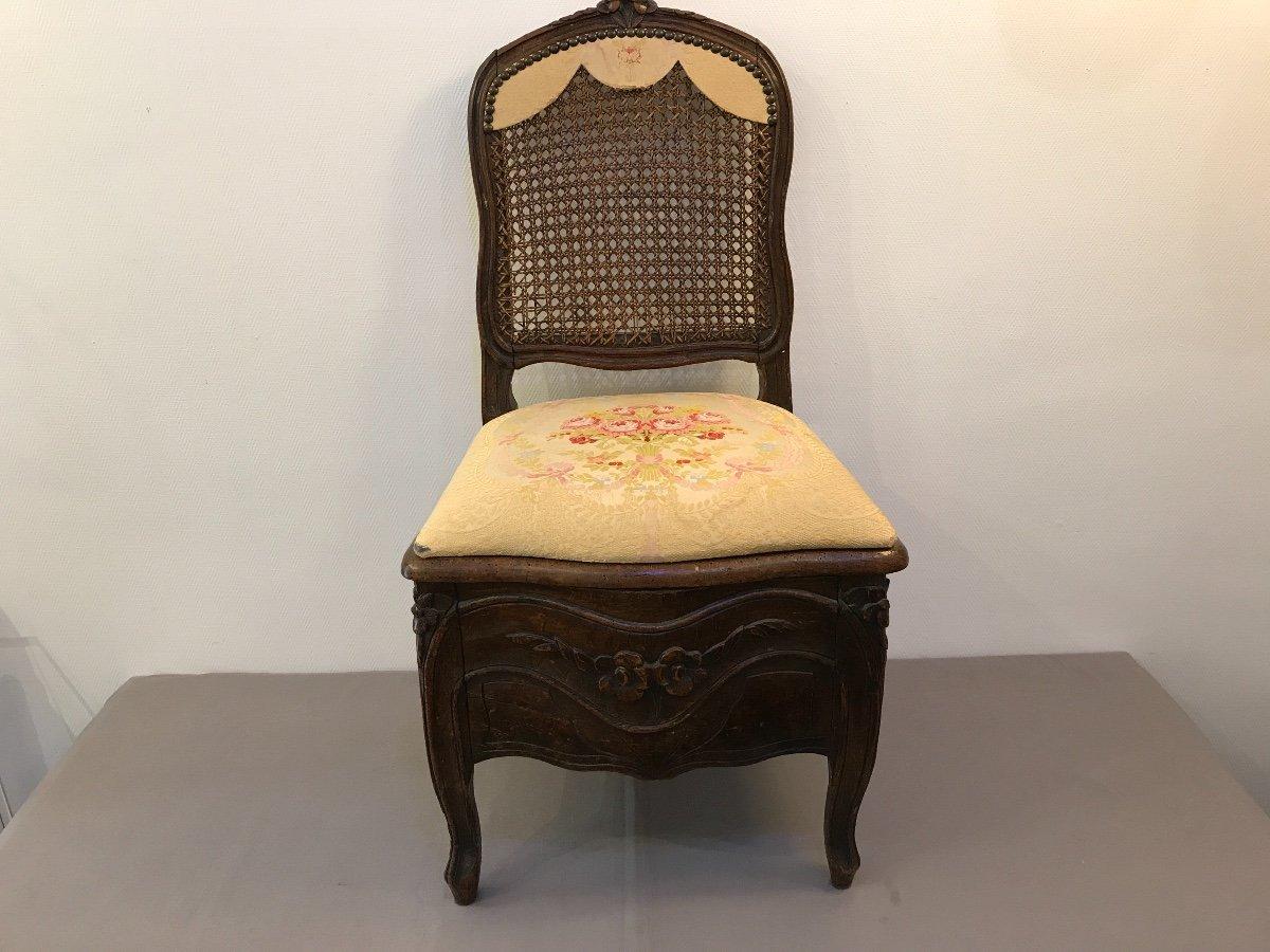 Chaise De Commodité En Bois Naturel D'époque 18ème Louis XV