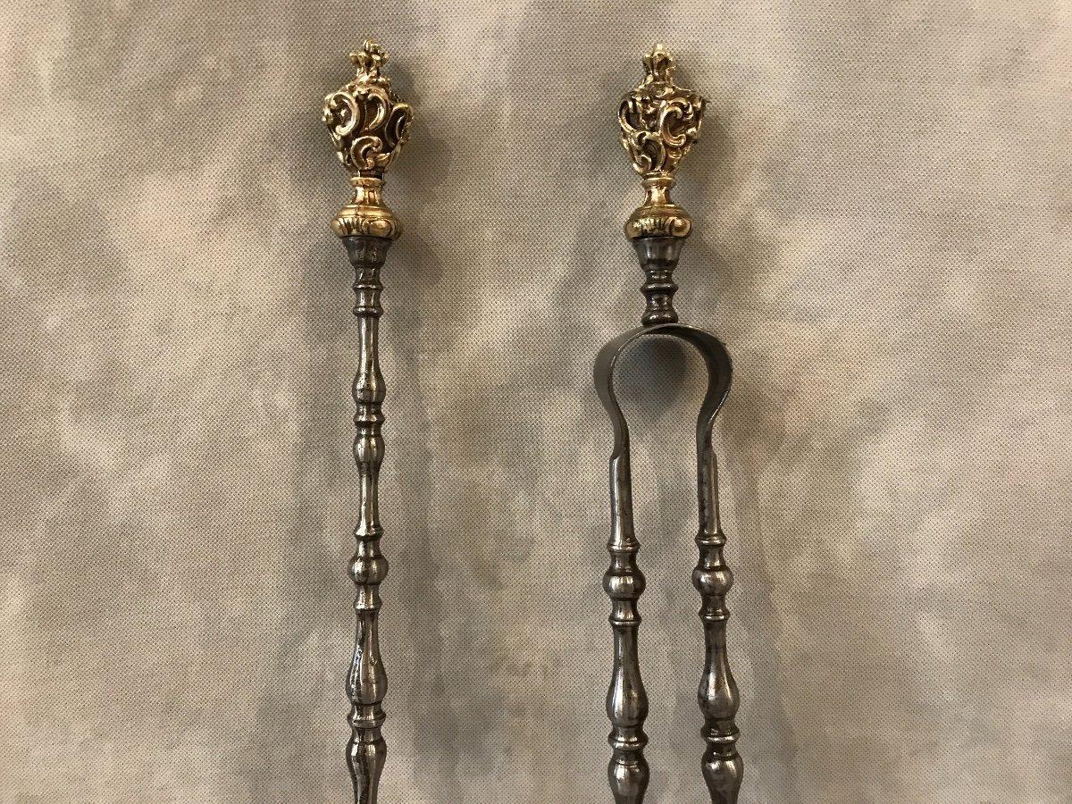 Ensemble D'une Pelle Et D'une Pince En Fer Et Bronze D'époque 19ème -photo-2