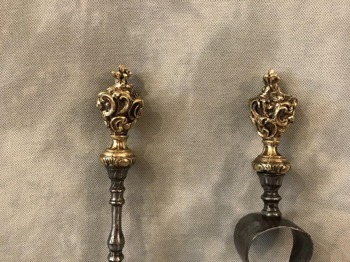 Ensemble D'une Pelle Et D'une Pince En Fer Et Bronze D'époque 19ème -photo-3
