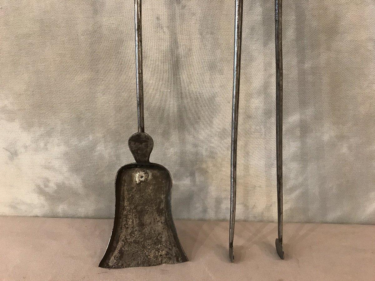 Ensemble D'une Pelle Et D'une Pince En Fer Et Bronze D'époque 19ème -photo-4