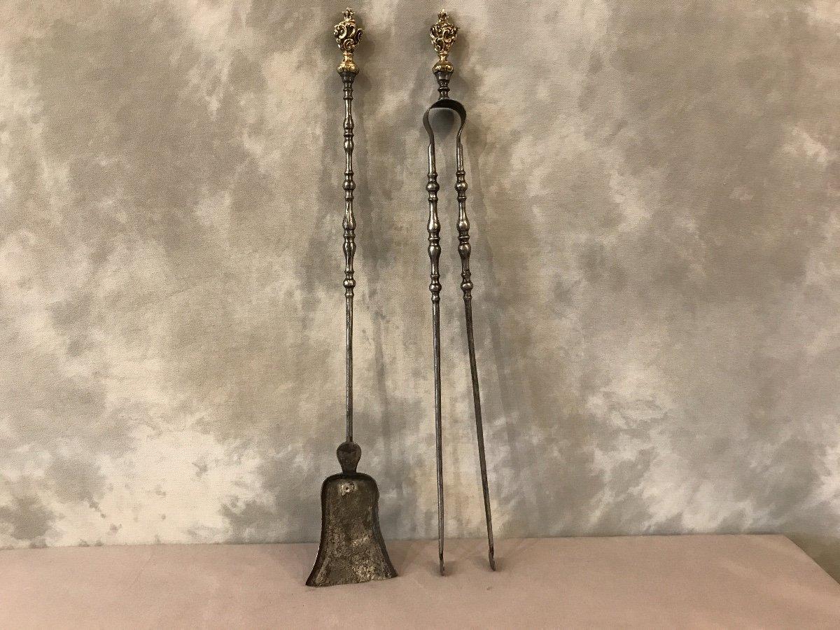 Ensemble D'une Pelle Et D'une Pince En Fer Et Bronze D'époque 19ème