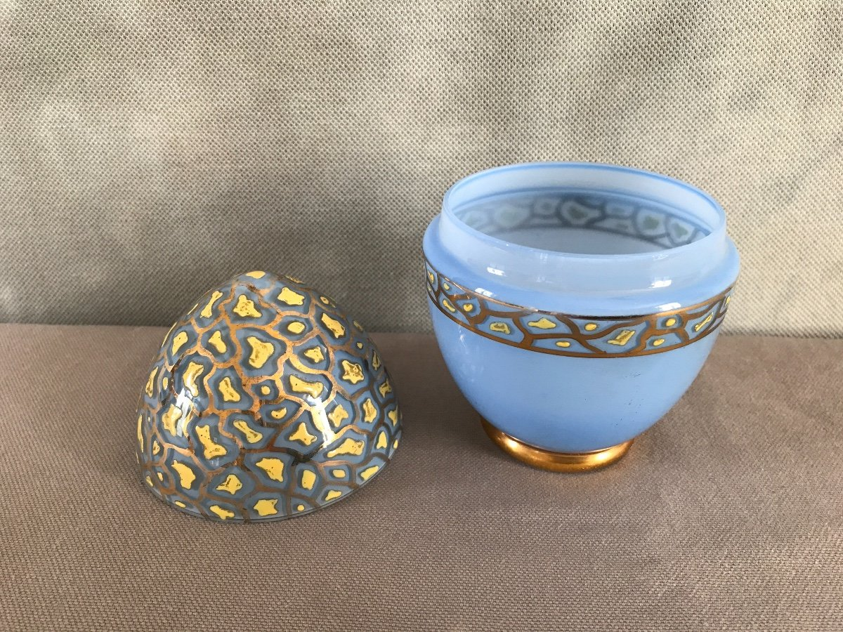 Empty Egg Pockets In Opalized Glass And Period Enamelled Decor 19th-photo-3