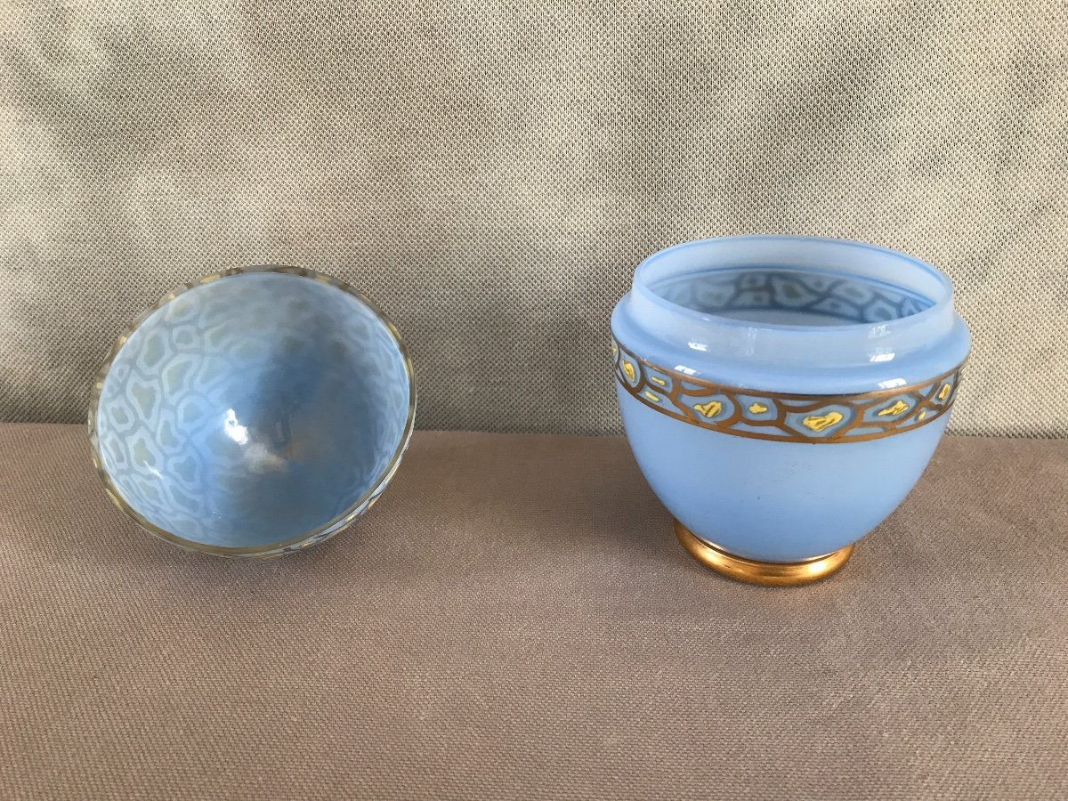 Empty Egg Pockets In Opalized Glass And Period Enamelled Decor 19th-photo-1