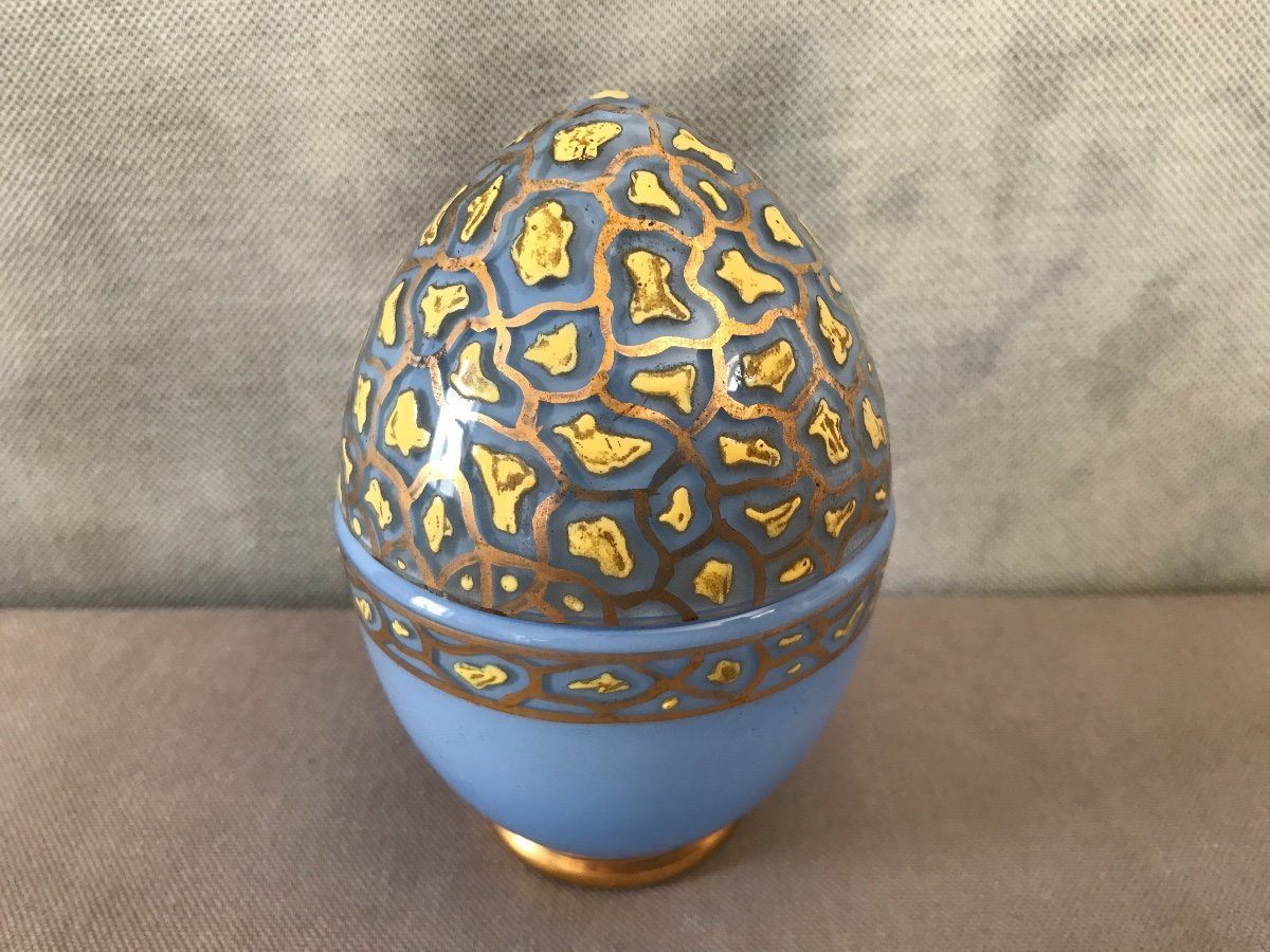 Empty Egg Pockets In Opalized Glass And Period Enamelled Decor 19th-photo-2
