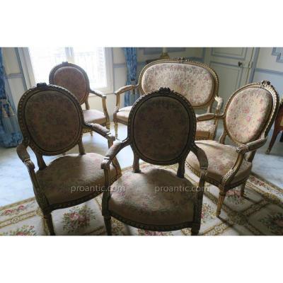 Salon En Bois Sculpté Et Doré De Style Louis XVI Napoléon III