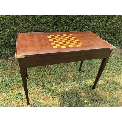 Table à Jeu De Tric-trac En Marqueterie D'époque Fin 19ème
