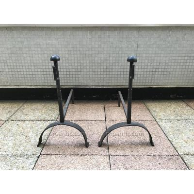 Pair Of Andirons Iron Rustic 19th Time