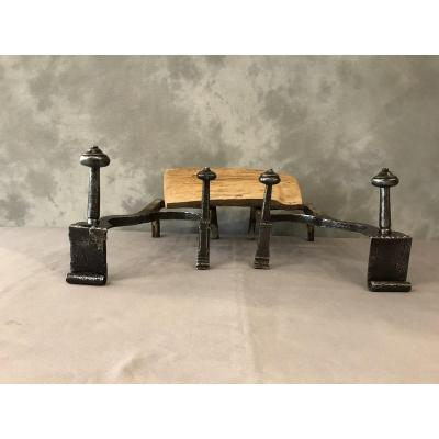 Pair Of Andirons Double Iron 18th Time