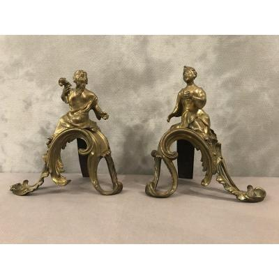 Chenets Aux Chinois In Bronze 18th Time