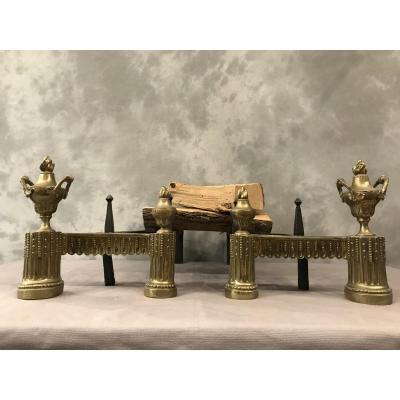 Paire De Chenets En Bronze D'époque Louis XVI