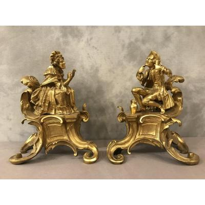 19th Century Andirons In Gilt Bronze
