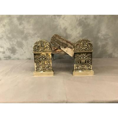 Pair Of Andirons In Bronze And Brass, 19th Empire Period