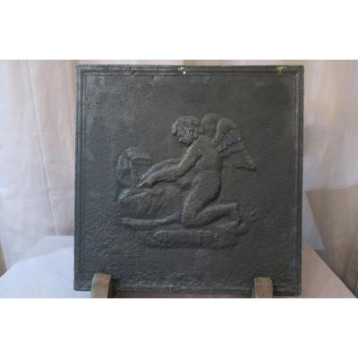 Small Antique Fireplace Plate In 18th Century Cast Iron