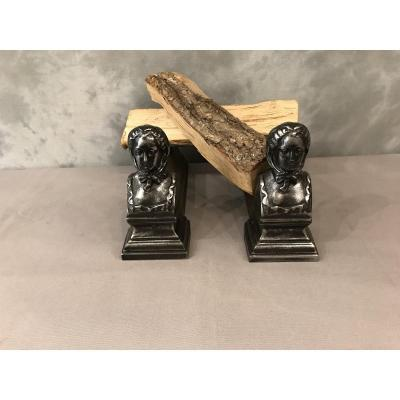 Pair Of 19th Century Cast Iron Andirons