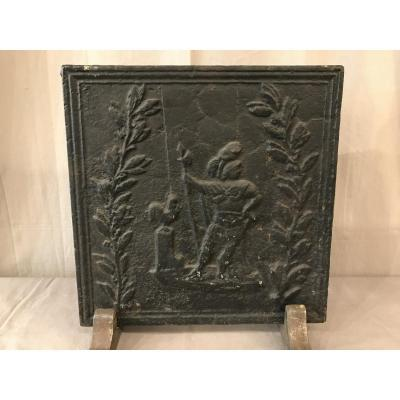 Antique Fireplace Plate In 19th Cast Iron