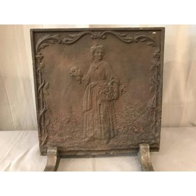 Small Antique Fireplace Plate In Late 18th Cast Iron