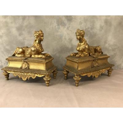 Chenets En Bronze Doré Aux Sphinx D'époque 19ème