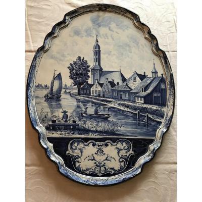 Plaque Décorative En Faïence De Delft D'époque 19ème