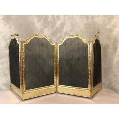 Antique 19th Century Brass Fire Screen