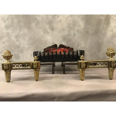 Pair Of Louis XVI Andirons With Pine Cones In Late 18th Bronze