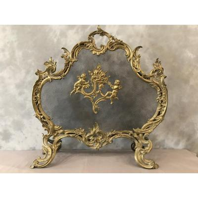 19th Century Louis XV Bronze Fireplace Screen