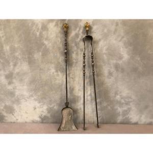 Ensemble D'une Pelle Et D'une Pince En Fer En Bronze D'époque 19ème