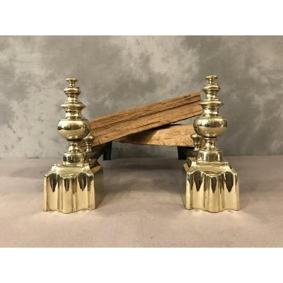 Pair Of Andirons In Brass From The 19th Louis Philippe