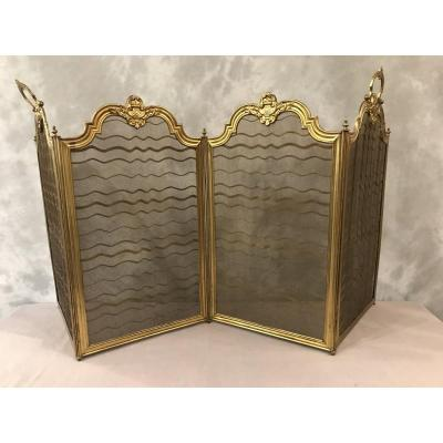 Antique 19th Time Fireplace Screen In Golden Brass