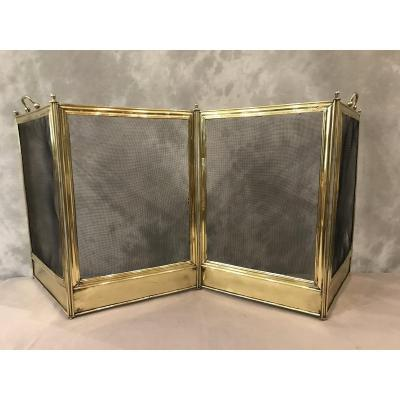 Antique Charles X 19th Century Brass Fire Screen