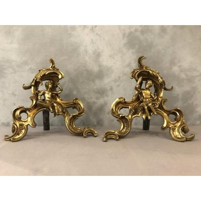 Pair Of Andirons In Gilt Bronze From The 19th Time With Decor Of Characters
