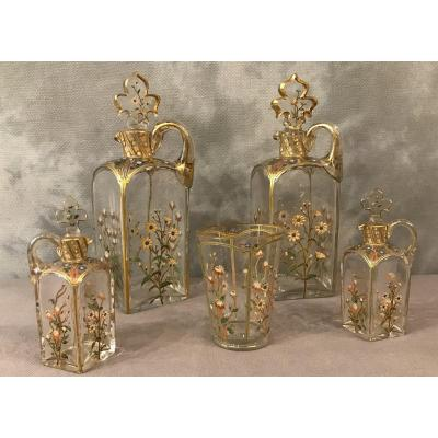 Set Of 4 Enamelled Glass Decanters Plus A 19th Glass