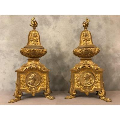 Beaux Chenets Décor D'époque Louis XIV 17ème