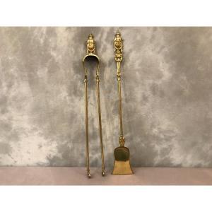 Ensemble D'une Pelle Et D'une Pince En Bronze Et Laiton D'époque 19ème