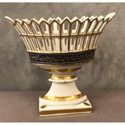 Coupe Navette En Porcelaine De Vieux Paris D'époque 19ème