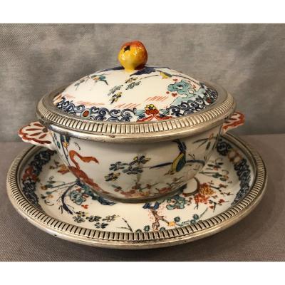 Bol à Bouillon De Mehun Et Son Assiette En Porcelaine Et Argent Massif D'époque Fin 19ème