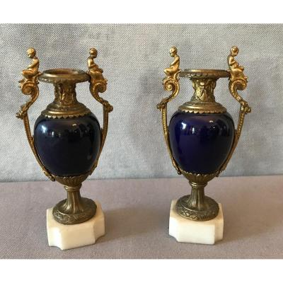 Pair Of Small Casseroles In Bronze And Sèvres Porcelain Blue From The 19th Time