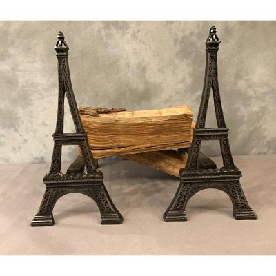 Old Cast Iron Andirons Representing The Eiffel Tower Around 1900