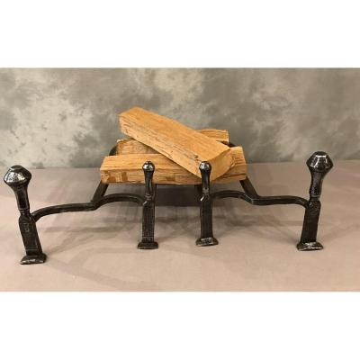Pair Of 18th Century Polished Iron Andirons With Two Spinning Tops