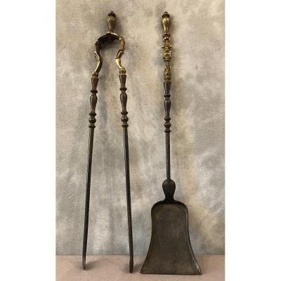 Ensemble D'une Pelle Et D'une Pince En Fer Et En Bronze D'époque 19ème