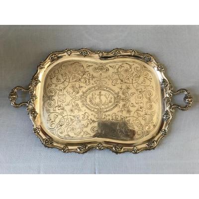 Plateau De Service En Métal Argenté De Style Louis XV D'époque 19ème