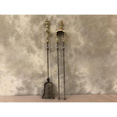 Ensemble D'une Pelle Et D'une Pince En Fer Et Bronze Poli Et Vernis D'époque 19ème Louis XV