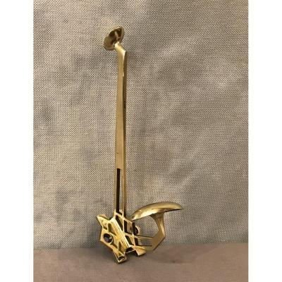 Porte Manteaux Patère En Bronze Poli Et Vernis D'époque 19ème